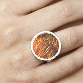 Cool Orange Yellow Flames Fractal Glowing Fractal Photo Ring