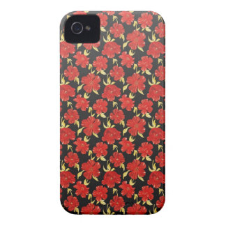 Cool oriental black red flower pattern iPhone 4 case