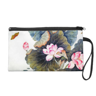 Cool oriental chinese beautiful lotus leaf butterf wristlet
