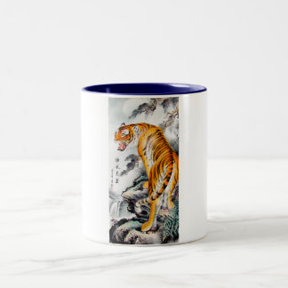 Cool oriental chinese fluffy tiger watercolor ink Two-Tone coffee mug
