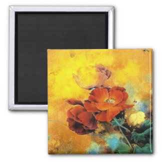 Cool oriental chinese red poppy flower watercolor square magnet