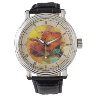 Cool oriental chinese red poppy flower watercolor watch