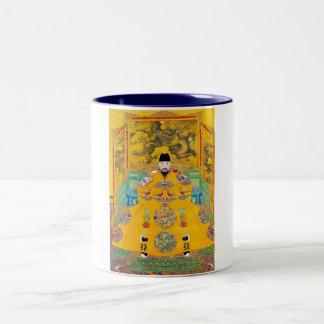 Cool oriental classic chinese woodcut emperor art Two-Tone coffee mug