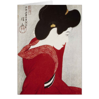 Cool oriental classic geisha lady woodprint art card