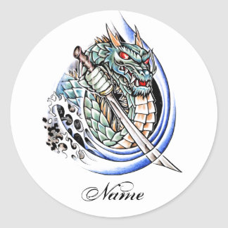 Cool Oriental Dragon with Sword tattoo Classic Round Sticker