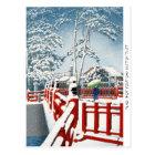 Cool oriental Hasui Kawase winter scenery art Postcard