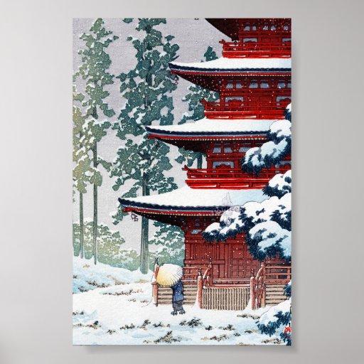 Cool oriental Hasui Kawase Winter scenery art Print