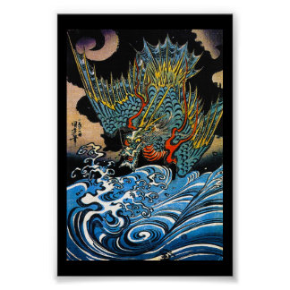 Cool oriental japanese Ancient Legendary Dragon Poster
