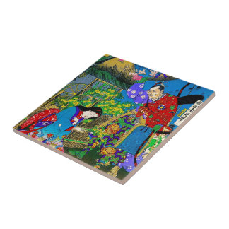 Cool oriental japanese beautiful geisha garden art tile
