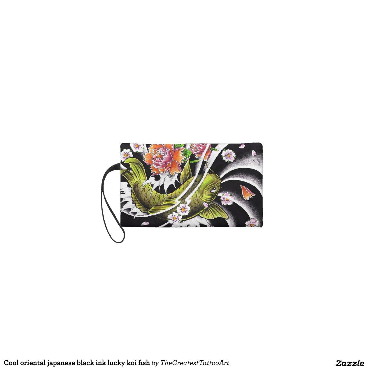 Cool oriental japanese black ink lucky koi fish wristlet for Lucky koi fish