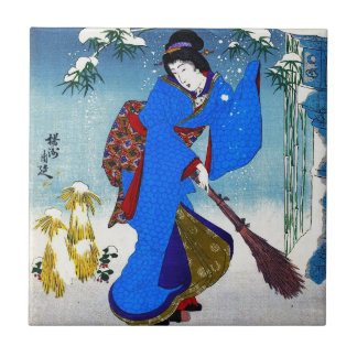 Cool oriental japanese classic geisha lady art tile