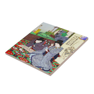 Cool oriental japanese classic geisha lady garden tile