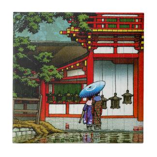 Cool oriental japanese classic temple rain art tile