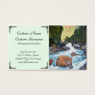 Cool oriental japanese forest river rock hanga art business card