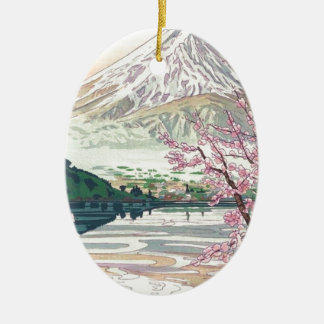Cool Oriental Japanese Fuji Spring Cherry Tree Art Ceramic Ornament