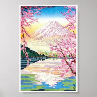 Cool oriental japanese Fuji spring cherry tree art Poster