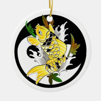 Cool Oriental Japanese Gold Koi Ying Yang tattoo Ceramic Ornament