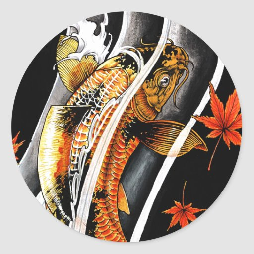 Cool oriental japanese gold lucky koi fish tattoo round for Cool koi fish