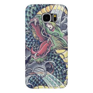 Cool oriental japanese green dragon god tattoo art samsung galaxy s6 cases