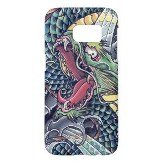 Cool oriental japanese green dragon god tattoo art samsung galaxy s7 case
