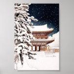 Cool oriental japanese Hasui Kawase winter scenery Poster