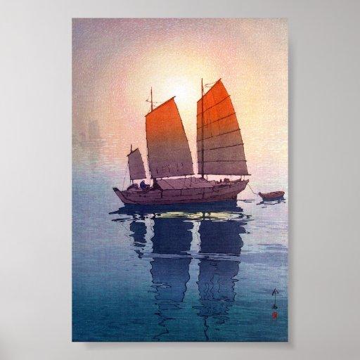 Cool oriental japanese Hiroshi Yoshida morning Posters