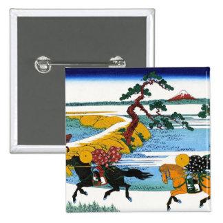 Cool oriental japanese Hokusai Fuji View landscape 2 Inch Square Button