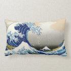 Cool oriental japanese Hokusai Fuji View landscape Lumbar Pillow