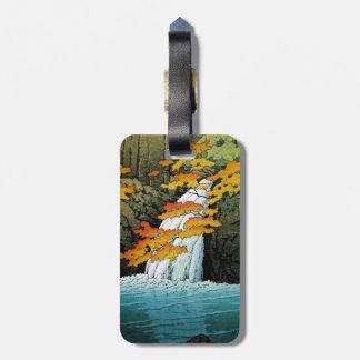 Cool oriental japanese Kawase Senju Waterfall art Luggage Tag