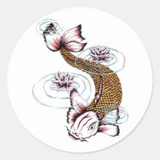 Cool Oriental Japanese Koi Carp Fish Pink Lotus Classic Round Sticker