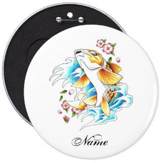 Cool Oriental Japanese Koi Carp Fish Water tattoo 6 Inch Round Button