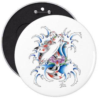 Cool Oriental Japanese Koi Carp Water tattoo 6 Inch Round Button