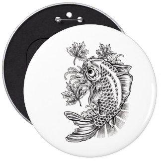 Cool Oriental Japanese Koi Fish Carp tattoo 6 Inch Round Button