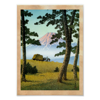 Cool oriental japanese landsape scenery Mt. Fuji Poster