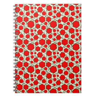 Cool oriental japanese red flower floral pattern notebook