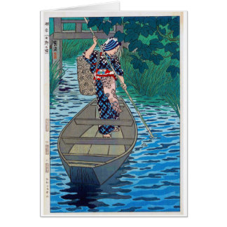 Cool oriental japanese river boat fishing woman card
