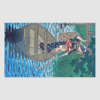 Cool oriental japanese river boat fishing woman sticker