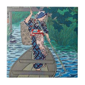 Cool oriental japanese river boat fishing woman tile