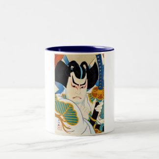 Cool oriental japanese Shunsen Kabuki actor art Two-Tone Coffee Mug