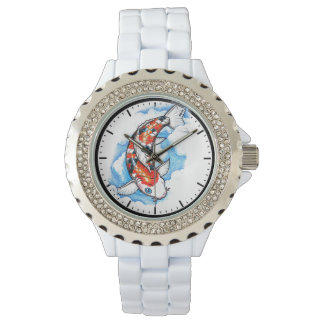 Cool oriental japanese tattoo ink lucky koi fish wristwatch
