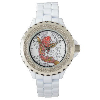 Cool oriental japanese tattoo ink lucky koi fish wristwatches