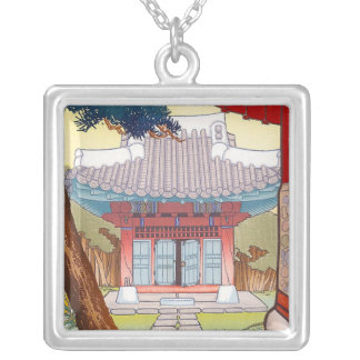 Cool oriental japanese woodprint pagoda art silver plated necklace
