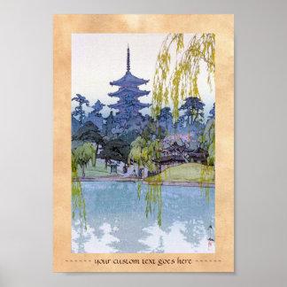 Cool oriental japanese Yoshida lake Shrine Temple Poster