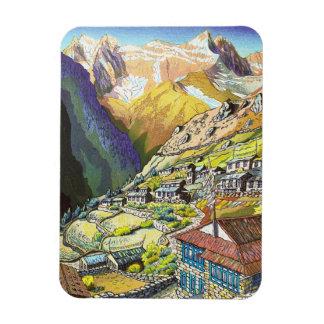 Cool oriental Namche Bazar Tibet mountain art Magnet