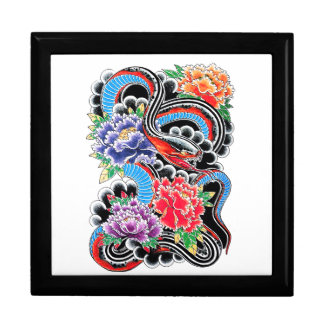 Cool oriental snake with lotus flower tattoo jewelry box