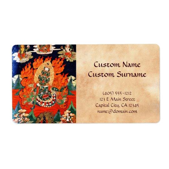 Cool oriental tibetan god thangka tattoo art shipping label