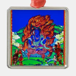 Cool oriental tibetan thangka Acalanatha tattoo Silver-Colored Square Ornament