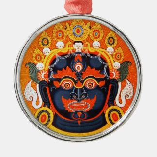 Cool oriental tibetan thangka Bhairava tattoo art Silver-Colored Round Ornament