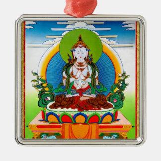 Cool oriental tibetan thangka Buddha Locani Silver-Colored Square Ornament