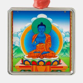 Cool oriental tibetan thangka DaZ i Zai Wan Fo Silver-Colored Square Ornament